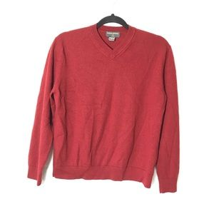 BANANA REPUBLIC RUST MERINO WOOL V-NECK SWEATER